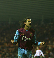 Photo: Andrew Unwin.<br />Sunderland v Aston Villa. The Barclays Premiership.<br />19/11/2005.<br />Aston Villa's Milan Baros celebrates scoring his team's third goal.
