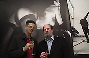 Max Vadukul and Salman Rushdie. Max Vadukul photo exhibit. Yojji Yamamoto. Conduit St. London. © Copyright Photograph by Dafydd Jones 66 Stockwell Park Rd. London SW9 0DA Tel 020 7733 0108 www.dafjones.com