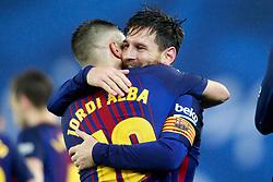 FC Barcelona's Leo Messi (r) and Jordi Alba celebrate goal during La Liga Real Sociedad v FC Barcelona match in San Sebastian-Donostia, Spain, January 14, 2018. Photo by Acero/AlterPhotos/ABACAPRESS.COM