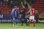 AFC Wimbledon midfielder Mitchell (Mitch) Pinnock (11) yellow card and then red card, sent off during the EFL Sky Bet League 1 match between Charlton Athletic and AFC Wimbledon at The Valley, London, England on 15 December 2018.