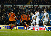 Goal celebration by Wolverhampton Wanderers defender Willy Boly during the EFL Sky Bet Championship match between Leeds United and Wolverhampton Wanderers at Elland Road, Leeds, England on 7 March 2018. Picture by Paul Thompson.