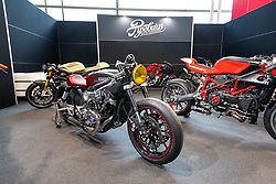 Pipeburn Online Magazine's booth at Motor Bike Expo (MBE) bike show. Verona, Italy. Thursday, January 16, 2020. Photography ©2020 Michael Lichter.