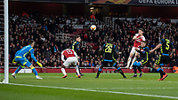 Football - 2018 / 2019 UEFA Europa League - Quarter Final, First Leg Arsenal vs. Napoli <br /> <br /> Aaron Ramsey (Arsenal FC) heads back towards goal the parried shot from Pierre-Emerick Aubameyang (Arsenal FC) at The Emirates.<br /> <br /> COLORSPORT/DANIEL BEARHAM
