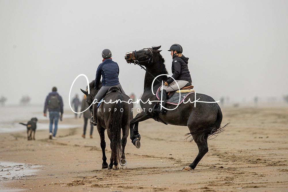 Strand wandeling, De Keersmaecker Jolien, Van De Heyden Caroline<br /> Oostduinkerke Bad 2020<br /> © Hippo Foto - Dirk Caremans<br /> 29/11/2020