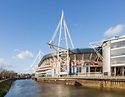 River Taff and Principality millennium stadium, Cardiff, South Wales, UK