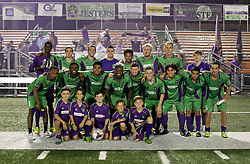 07 May 2016. New Orleans, Louisiana.<br /> NPSL Soccer, Pan American Stadium.<br /> Team photo with the senior squad and Junior Academy players. New Orleans Jesters v Houston Hurricanes. Jesters win 3-0. <br /> Photo; Charlie Varley/varleypix.com