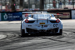 """LONG BEACH, CA - APRIL 17 Martin Fuentes in his No. 07 Hublot/Under Armour Ferrari 458 Italia GT3. Fuentes had started 7th overall.  This is his fifth consecutive win and still the leader with 440 points. """"Long Beach is always tricky but it was a good race for us,"""" said Fuentes. 2016 April 17.  Byline, credit, TV usage, web usage or linkback must read SILVEXPHOTO.COM. Failure to byline correctly will incur double the agreed fee. Tel: +1 714 504 6870."""