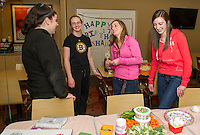 Mary Kate Russo, Courtney Pelletier, Shania Mulley and Bridget Annis celebrate Shania's 17th birthday at the Gilford Marriott Thursday evening.  (Karen Bobotas/for the Laconia Daily Sun)