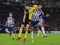 Football - 2019 / 2020 Premier League - Brighton & Hove Albion vs. Watford<br /> <br /> Brighton & Hove Albion's Glenn Murray battles for possession with Watford's Craig Cathcart, at the Amex Stadium.<br /> <br /> COLORSPORT/ASHLEY WESTERN