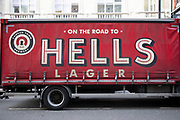 Hells Lager beer delivery truck in London, United Kingdom.