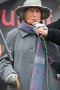 Rally organised by Stop the War coalition  in Trafalgar Square to mark 10 years of war in Afghanistan. 106 year old Hetty Bower