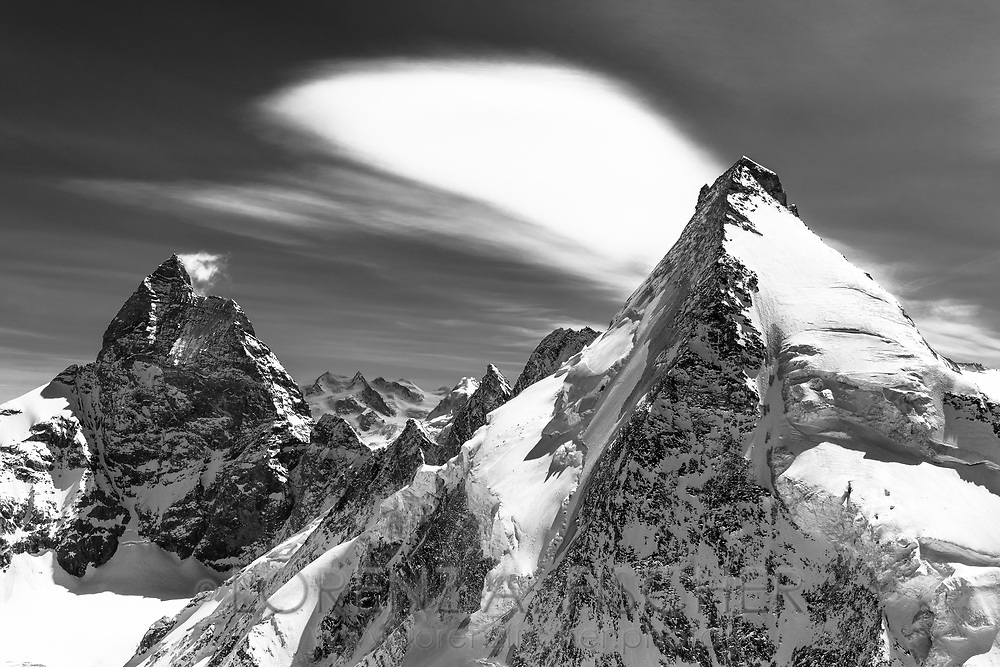 The west faces of the Matterhorn and the Dent d'Herens, Valais, Switzerland