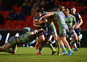 Sale Sharks TJ Ioane drives at the Newcastle Falcons defence during the The Aviva Premiership Round 2 match Sale Sharks -V- Newcastle Falcons at The AJ Bell Stadium, Salford, Greater Manchester, England on Friday, September 8, 2017. (Steve Flynn/Image of Sport)
