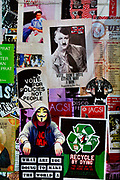 Glastonbury Festival, 2015. Shangri La is a festival of contemporary performing arts held each year within Glastonbury Festival. The theme for the 2015 Shangri La was Protest.  <br /> Political protest posters, Shangri La.