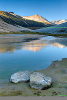 Ochre Mountain 2530 m (8301 ft) seen from Salal Creek in Athelney Pass, Coast Mountains British Columbia Canada