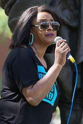 London, UK. 29th May, 2021. Delia Mattis of United for Black Lives addresses fellow civil rights and other activists during a Kill The Bill National Day of Action in protest against the Police, Crime, Sentencing and Courts (PCSC) Bill 2021. The PCSC Bill would grant the police a range of new discretionary powers to shut down protests, including the ability to impose conditions on any protest deemed to be disruptive to the local community, wider stop and search powers and sentences of up to 10 years in prison for damaging memorials.