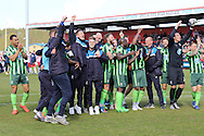 AFC Wimbledon seal a play-off position during the Sky Bet League 2 match between Stevenage and AFC Wimbledon at the Lamex Stadium, Stevenage, England on 30 April 2016. Photo by Stuart Butcher.
