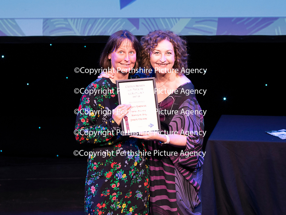 EMBARGOED UNTIL 18.00 (6PM) 10.06.18 <br />Critics' Awards for Theatre in Scotland at Perth Theatre…The winner of the BEST FEMALE PERFORMANCE was Jessica Hardwick for Knives In Hens who wasn't present so the award was presented to Lu Kemp of Perth Theatre by Blythe Duff…A video of Jessica accepting her award wqas also played<br />for further info contact Lesley Booth at CATS on 07799 414474<br />Picture by Graeme Hart.<br />Copyright Perthshire Picture Agency<br />Tel: 01738 623350  Mobile: 07990 594431