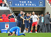 North Shields Manager Graham Fenton applauds Glossop official during the FA Vase Final between Glossop North End and North Shields at Wembley Stadium, London, England on 9 May 2015. Photo by Phil Duncan.