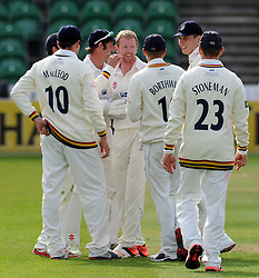 Durham's Paul Collingwood celebrates the wicket of Somerset's Alex Barrow- Photo mandatory by-line: Harry Trump/JMP - Mobile: 07966 386802 - 12/04/15 - SPORT - CRICKET - LVCC County Championship - Day 1 - Somerset v Durham - The County Ground, Taunton, England.
