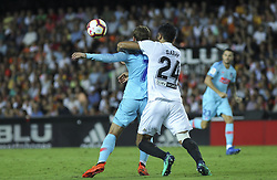August 20, 2018 - Garay of Valencia and Griezmann of Atletico de Madrid in action during the spanish league, La Liga, football match between ValenciaCF and Atletico de Madrid on August 20, 2018 at Mestalla stadium in Valencia, Spain. (Credit Image: © AFP7 via ZUMA Wire)