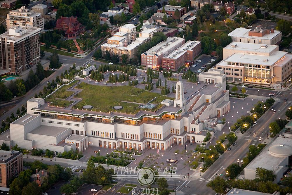 LDS Conference Center in Salt Lake City at dusk