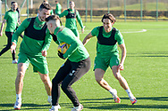 Joe Newell (#11) of Hibernian FC (right) is all smiles during the training session for Hibernian FC at the Hibs Training Centre, Ormiston, Scotland on 26 February 2021, ahead of the SPFL Premiership match against Motherwell.