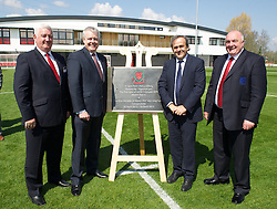 NEWPORT, WALES - Saturday, April 20, 2013: Former FAW President Phil Pritchard, First Minister Carwyn Jones, UEFA President Michel Platini and FAW President Trevor Lloyd-Hughes at the opening of the FAW National Development Centre in Newport. (Pic by David Rawcliffe/Propaganda)