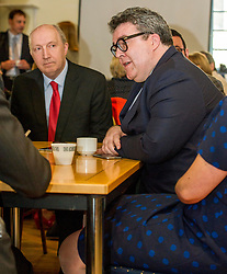 Pictured: Tom Watson and Councillor Andrew Burns leader of the EdinburghLabour Group Party.<br /> Scottish Labour leader Kezia Dugdale, MSP,  and Tom Watson, MP deputy leader of the Labour Party, visited Edinburgh's Serenity cafe today to meet and encourage Labour candidates ffor the upcoming local elections;<br /> Ger Harley | EEm 27 March 2017
