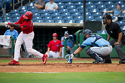 June 5, 2017 - St. Petersburg, Florida, U.S. - WILL VRAGOVIC       Times.Clearwater Threshers right fielder Herlis Rodriguez (27) strikes out as Charlotte Stone Crabs catcher Wilson Ramos (36) makes the catch at the dirt in the first inning of the game between the Charlotte Stone Crabs and the Clearwater Threshers at Spectrum Field in Clearwater, Fla. on Monday, June 6, 2017. (Credit Image: © Will Vragovic/Tampa Bay Times via ZUMA Wire)
