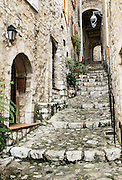 Rustic stone steps lead up the hill in the medieval village of St Paul de Vence, Provance, France