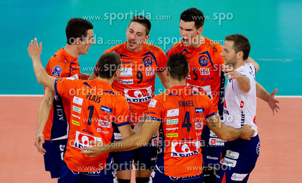 Players of ACH during volleyball match between ACH Volley LJUBLJANA and Budvanska Rivijera BUDVA.of 2012 CEV Volleyball Champions League, Men, League Round in Pool F, 2nd Leg, on October 26, 2011, in Arena Stozice, Ljubljana, Slovenia.  (Photo by Vid Ponikvar / Sportida)