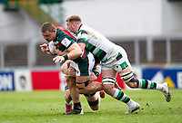 Rugby Union - 2020 / 2021 ER Challenge Cup - Quarter-Final - Leicester Tigers  vs Newcastle Falcons - Welford Road<br /> <br /> Jasper Wiese of Leicester Tigers is tackled by Callum Chick of Newcastle Falcons<br /> <br /> Credit : COLORSPORT/BRUCE WHITE