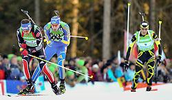 16.01.2011, Chiemgau Arena, Ruhpolding, GER, IBU Biathlon Worldcup, Ruhpolding, Pursuit Men, im Bild Michael GREIS (GER), Bjoern FERRY (SWE) und Martin FOURCADE (FRA) // Michael GREIS (GER), Bjoern FERRY (SWE) and Martin FOURCADE (FRA) during IBU Biathlon World Cup in Ruhpolding, Germany, EXPA Pictures © 2011, PhotoCredit: EXPA/ S. Kiesewetter
