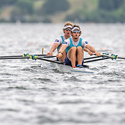 Nathan Flannery  (stroke) & Cameron Crampton Race the premier double sculls<br /> <br /> Racing the Christmas Regatta on Lake Karapiro, Cambridge, New Zealand. Sunday 15 December 2019  © Copyright photo Steve McArthur / www.photosport.nz
