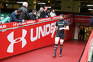Alun Wyn Jones, the Wales rugby captain walks out of the tunnel for the Wales Rugby captains run, ahead of tomorrows RBS Six nations match against England. Principality Stadium, Cardiff, South Wales on Friday 10th Feb 2017.   pic by  Andrew Orchard, Andrew Orchard sports photography.