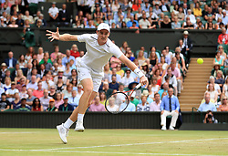 Jamie Murray during the mixed doubles final against Heather Watson and Henri Kontinen on day thirteen of the Wimbledon Championships at The All England Lawn Tennis and Croquet Club, Wimbledon.