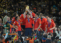 Fernando Torres Celebrates with World Cup<br /> Spain World Cup 2010<br /> Holland V Spain (0-1) 11/07/10 The World Cup Final at Soccer City<br /> FIFA World Cup 2010<br /> Photo Robin Parker Fotosports International