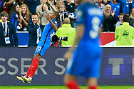 France's forward Kylian Mbappe celebrates after scoring during the FIFA World Cup Russia 2018, Qualifying Group A football match between France and Netherlands on August 31, 2017 at the Stade de France in Saint-Denis, north of Paris, France - Photo Benjamin Cremel / ProSportsImages / DPPI