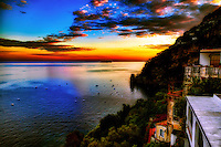 """Glittering sunset from the deck of Hotel Montemare – Positano""…<br />