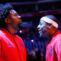 16 December 2015: Los Angeles Clippers center DeAndre Jordan (6) and Los Angeles Clippers forward Paul Pierce (34) are seen during players introduction prior to the Los Angeles Clippers 103-90 victory over the Milwaukee Bucks, at the Staples Center, Los Angeles, California, USA.