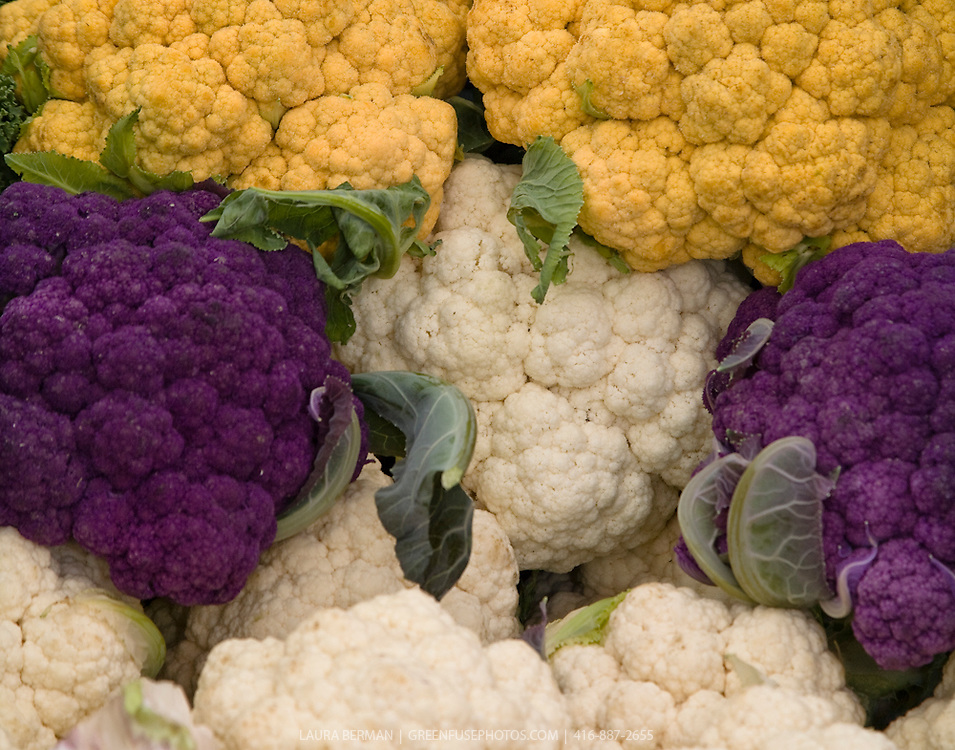 Purple, white and 'Cheddar' cauliflower (or Broccoflower) at a farmers market.