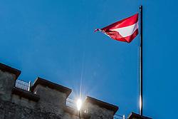 20.03.2014, Salzburg, AUT, Stadtansicht Salzburg, im Bild Die oesterreichische Flagge weht ueber der Festung Hohensalzburg // Cityscape of Salzburg, Austria on 2014/03/20. EXPA Pictures © 2014, PhotoCredit: EXPA/ Freshfocus/ Andy Mueller<br /> <br /> *****ATTENTION - for AUT, SLO, CRO, SRB, BIH, MAZ only*****