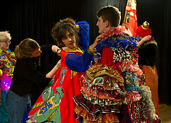 Last minute adjustments required. Outfits adorned with bells, lights and mirrors are among the designs by University of Edinburgh students which are to feature at events marking the Indian festival of Diwali this weekend. All the students shared the same space and helped each other out by acting as models.<br /> (c) Ger Harley | Edinburgh Elite media