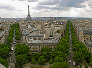 View of Paris cityscape from the top of the Arc du Triomphe