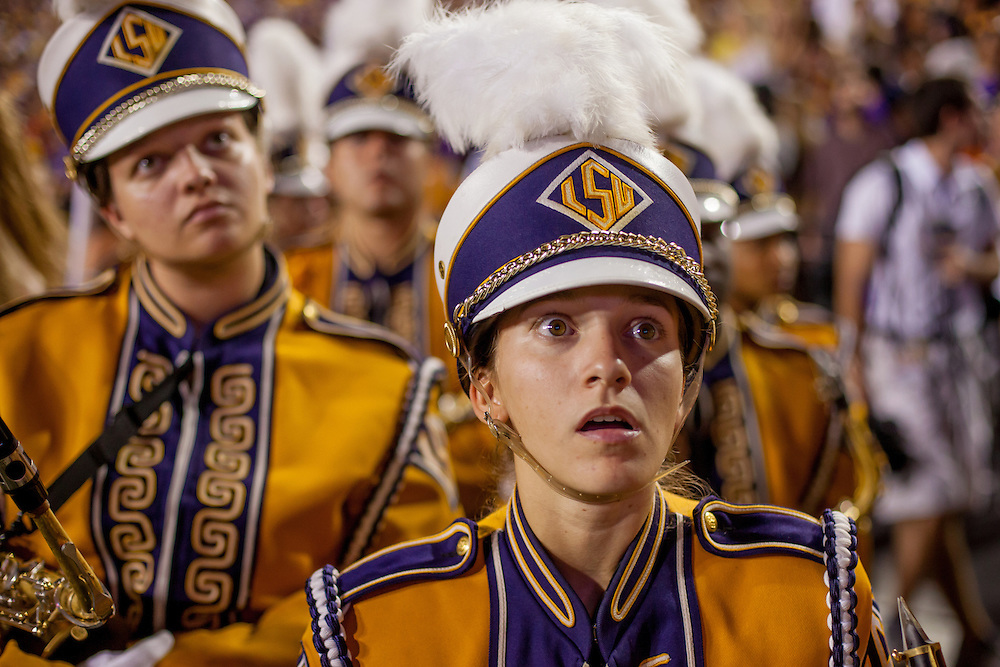 A member of the LSU marching band reacts to a replay of an Alabama touchdown during a game at Tiger Stadium in Baton Rouge, Louisiana.