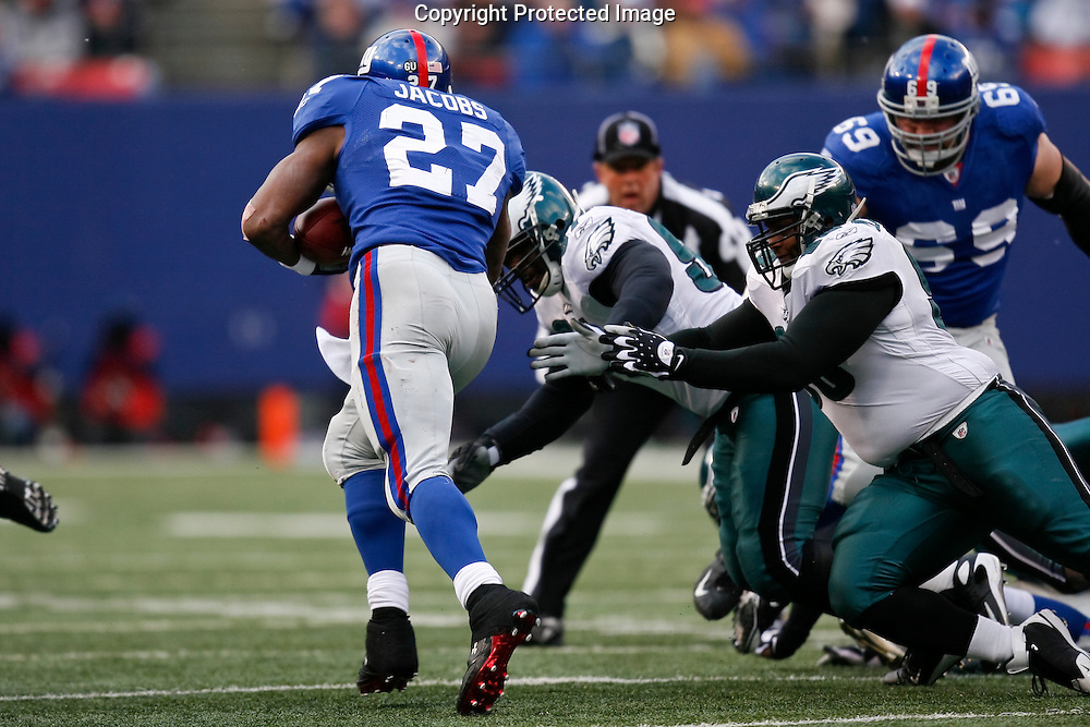 7 Dec 2008: New York Giants running back Brandon Jacobs #27 runs the ball during the game against the Philadelphia Eagles on December 7th, 2008. The Eagles won 20-14 at Giants Stadium in East Rutherford, New Jersey.