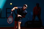 Alan Karatsev of Russia in action during his Men's Singles match, round of 32, against Diego Schwartzman of Argentina on the Mutua Madrid Open 2021, Masters 1000 tennis tournament on May 5, 2021 at La Caja Magica in Madrid, Spain - Photo Oscar J Barroso / Spain ProSportsImages / DPPI / ProSportsImages / DPPI