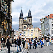 Prague's Old Town Square with the famous Astronomical Clock at left