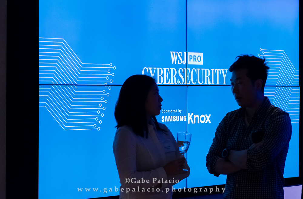 Networking at The WSJpro Cybersecurity event , in New York City on December 12, 2017. (photo by Gabe Palacio)